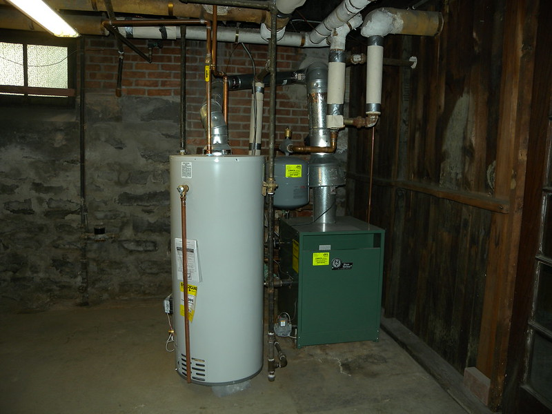water heater in a basement