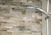 water flow in silver shower head